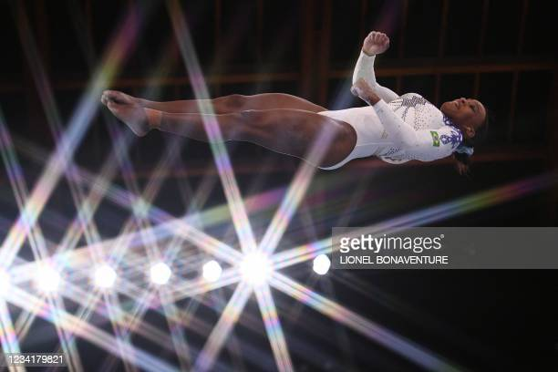 Brazil's Rebeca Andrade competes in the artistic gymnastics vault event of the women's qualification during the Tokyo 2020 Olympic Games at the...