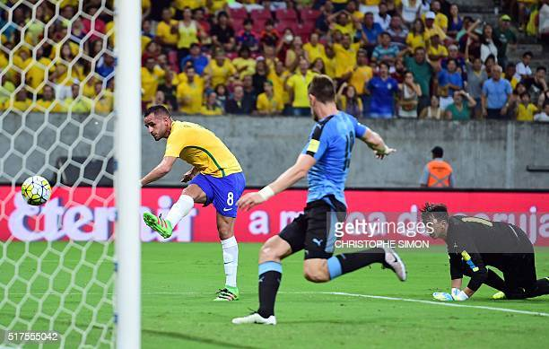 Brazil's Renato Augusto scores against Uruguay during their Russia 2018 FIFA World Cup South American Qualifiers' football match in Recife...