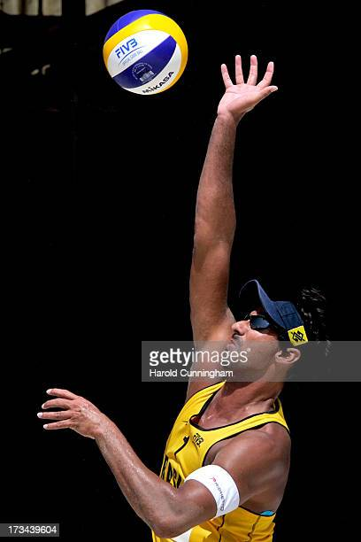 Brazil's Ricardo Santos in action during the RicardoAlvaro Filho v PedroBruno final match as part of the FIVB Gstaad Grand Slam sixth day on July 14...