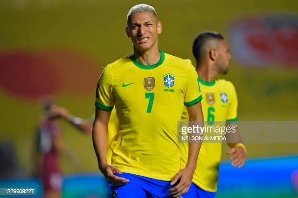 Brazil's Richarlison gestures during the closed-door 2022 FIFA World Cup South American qualifier football match against Venezuela at Morumbi Stadium...