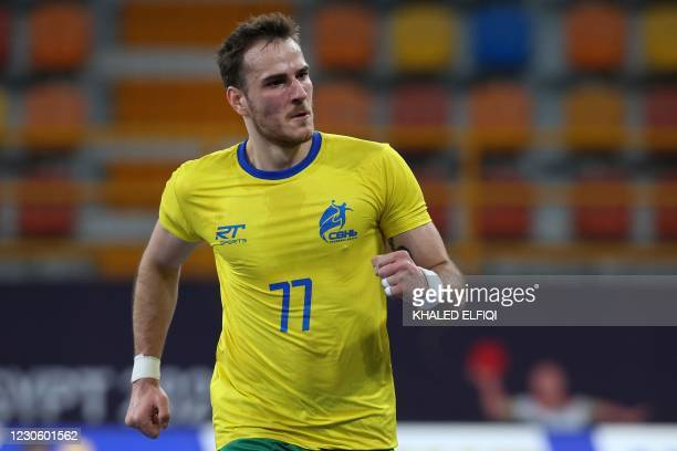 Brazil's right winger Rudolf Hackbarth celebrates his goal during the 2021 World Men's Handball Championship match between Group B teams Spain and...
