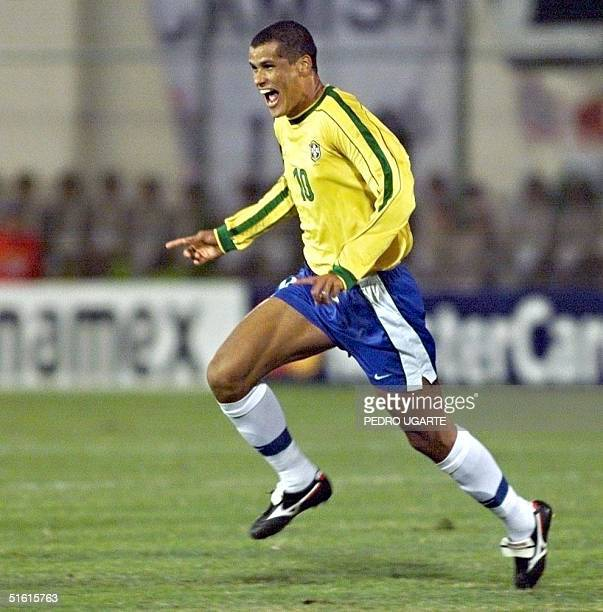 Brazil's Rivaldo celebrates after scoring the first goal against Uruguay in the 18 July Copa Amrica final in Asuncion Paraguay AFP PHOTO Pedro UGARTE