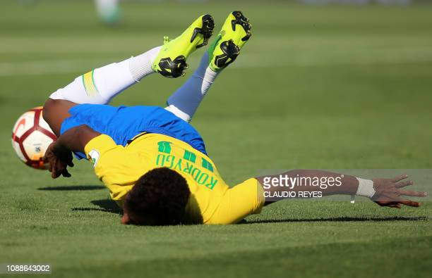Brazil's Rodrigo falls during their South American U20 football match against Bolivia at El Teniente stadium in Rancagua Chile on January 25 2019