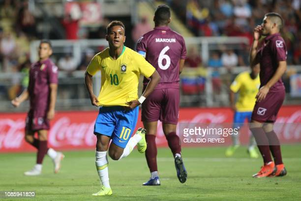Brazil's Rodrygo celebrates after scoring against Venezuela during their South American U20 football match at El Teniente stadium in Rancagua Chile...