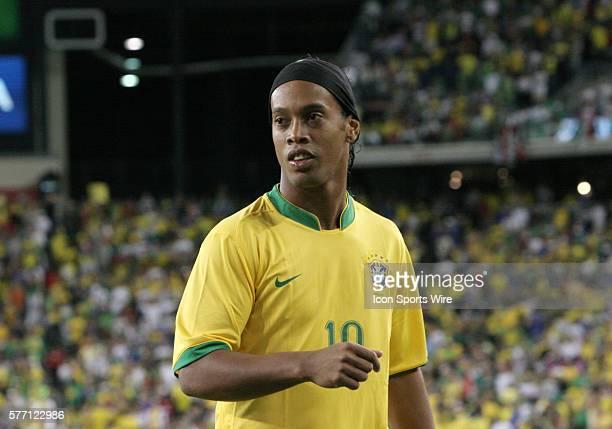 Brazil's Ronaldinho. The Brazil Men's National Team defeated the Mexico Men's National Team 3-1 at Gillette Stadium in Foxborough, Massachusetts in...