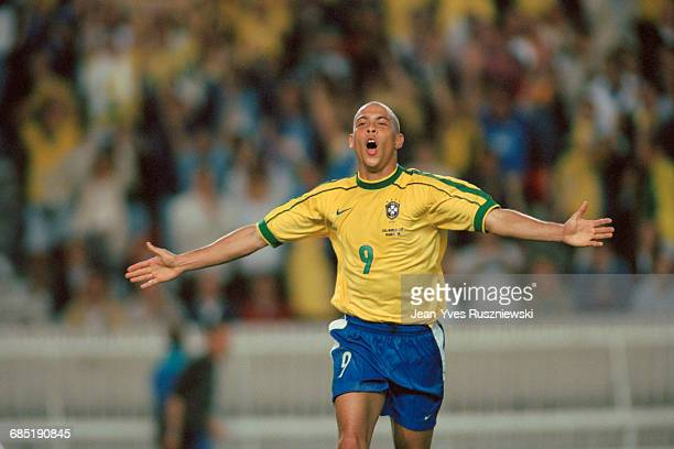 Brazil's Ronaldo during the 1998 Soccer World Cup match against Chile