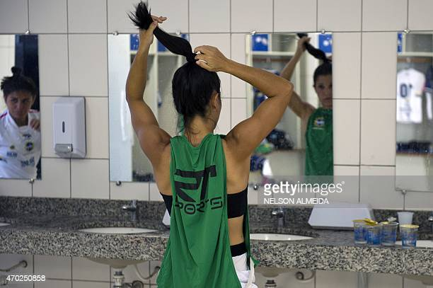 Brazil's Sao Jose football team players at the dressing room before the friendly match against Brazil national team at Martins Pereira stadium on...