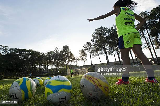 Brazil's Sao Jose footballers during a training session on April 4 in Sao Jose dos Campos some 90km from Sao Paulo Brazil AFP PHOTO / NELSON ALMEIDA