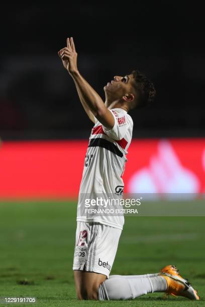 Brazil's Sao Paulo midfielder Vitor Bueno celebrates after scoring against Per's Binacional during their closed-door Copa Libertadores group phase...