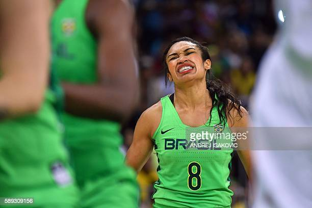 Brazil's shooting guard Iziane Castro reacts during a Women's round Group A basketball match between Turkey and Brazil at the Youth Arena in Rio de...