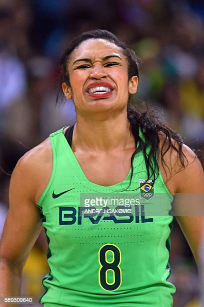 Brazil's shooting guard Iziane Castro recats during a Women's round Group A basketball match between Turkey and Brazil at the Youth Arena in Rio de...