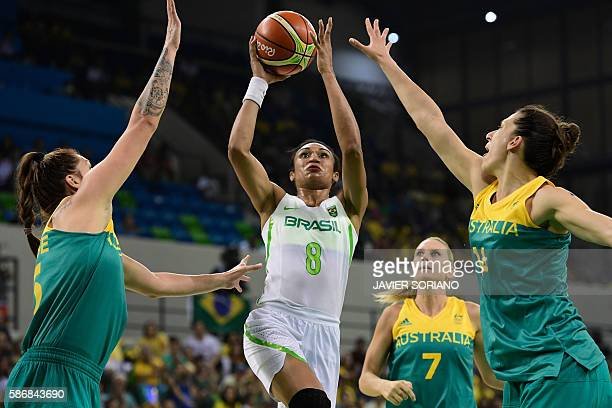 Brazil's shooting guard Iziane Castro vies for the basket during a Women's round Group A basketball match between Brazil and Australia at the Youth...