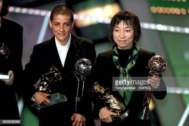 LR Brazil's Sissi with her Adidas Silver Ball for Best Player and the joint Top Scorer Adidas Golden Shoe award with China's Sun Wen with her Adidas...