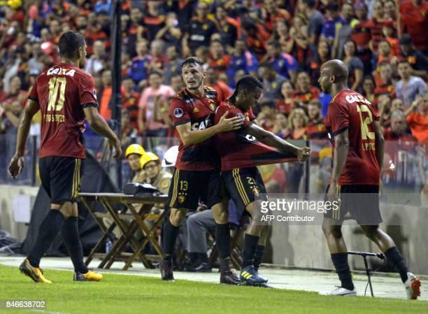 Brazil's Sport Recife footballers celebrate after scoring against Brazil's Ponte Preta during the Copa Sudamericana football tournament match at Ilha...