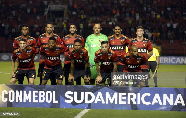 Brazil's Sport Recife footballers pose for pictures before the start of the Copa Sudamericana football tournament match against Brazil's Ponte Preta...
