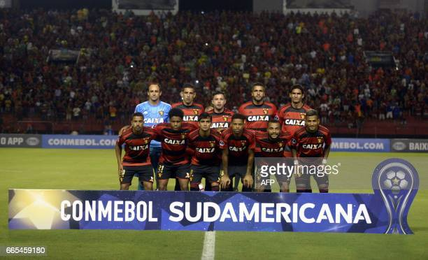 Brazil's Sport Recife players pose for pictures before their Copa Sudamericana 2017 football match against Uruguay's Danubio at the Adelmar da Costa...
