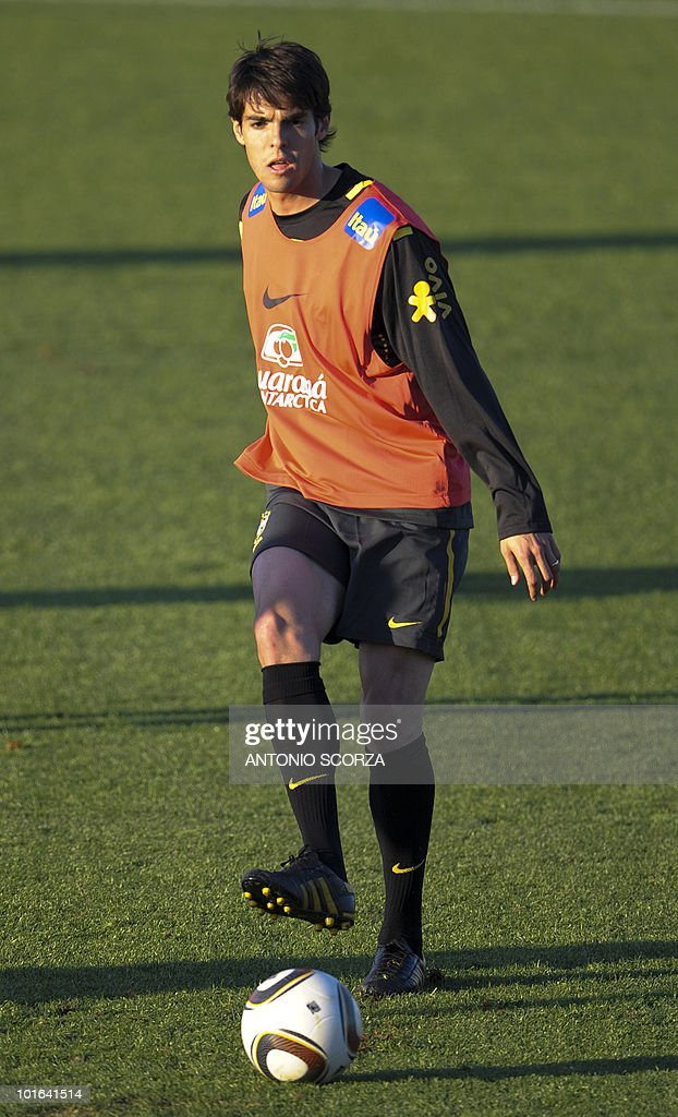 Brazil's striker Kaka kicks the ball during a team training session at Randburg High School on June 5, 2010 in Johannesburg. The team is preparing to compete in the 2010 World Cup football tournament in South Africa.