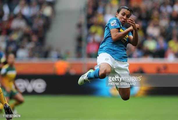 Brazil's striker Marta jumps during the group D football match of the FIFA women's football World Cup Brazil vs Australia on June 29 2011 at the...