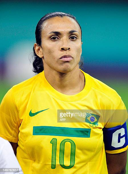 Brazil's striker Marta poses before the London 2012 Olympic Games women's quarterfinal football match between Brazil women and Japan women at the...