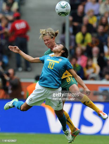 Brazil's striker Marta vies with Australia's defender Elise KellondKnight during the group D football match of the FIFA women's football World Cup...