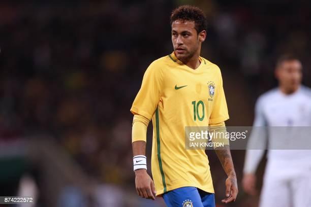 Brazil's striker Neymar looks on during the international friendly football match between England and Brazil at Wembley Stadium in London on November...