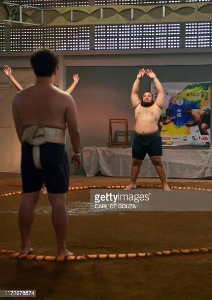 Brazil's sumo wrestler Rui Junior attends a practice session in Sao Paulo Brazil on September 14 2019 The 25year old and 160kilo sumo wrestler...