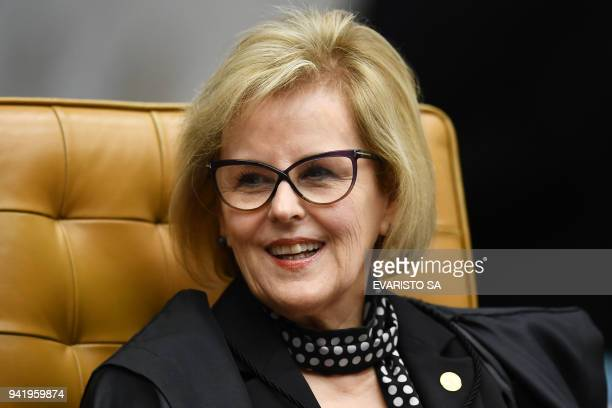 Brazil's Supreme Court judge Rosa Weber takes part in a court session in Brasilia on April 4 2018 Tension soared in Latin America's largest country...