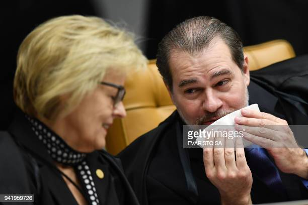 Brazil's Supreme Court judges Dias Toffoli and Rosa Weber take part in a court session in Brasilia on April 4 2018 Tension soared in Latin America's...