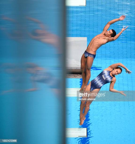 Brazil's Tammy Takagi and Ian Matos in action during the 3m springboard synchro mixed of the FINA World Championships 2017 in Budapest Hungary 22...