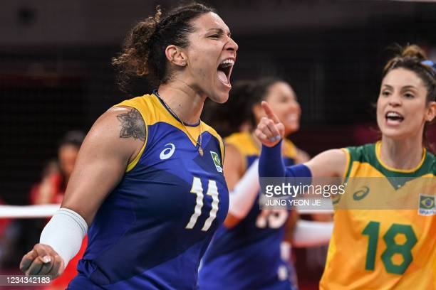 Brazil's Tandara Caixeta reacts after a point in the women's preliminary round pool A volleyball match between Serbia and Brazil during the Tokyo...