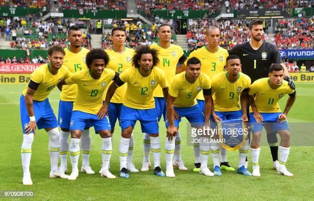 Brazil's team Brazil's midfielder Paulinho Brazil's defender Thiago Silva Brazil's defender Danilo Brazil's defender Joao Miranda and Brazil's...