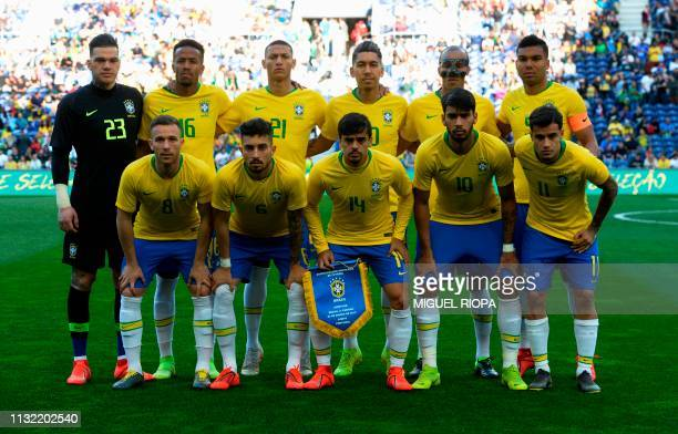 Brazil's team line up prior to an international friendly football match between Brazil and Panama at the Dragao Stadium in Porto on March 23 2019 in...