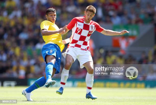 Brazil's Thiago Silva and Croatia's Andrej Kramaric battle for the ball during the International Friendly match at Anfield Liverpool