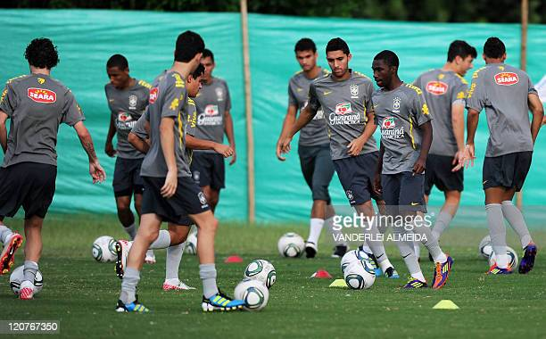 Brazil's U20 footballers take part in a training session in Barranquilla Colombia on August 9 on the eve of their FIFA U20 World Cup Round of 16...