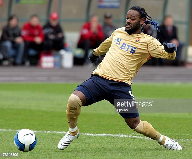 Brazil's Vagner Love of PFC CSKA Moscow in action during the Russian Football League Championship match between FC Moskva and PFC CSKA on April 22...