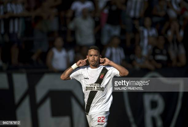 Brazil's Vasco da Gama player Yago Pikachu celebrates after scoring a goal against Brazil's Botafogo during the first final match of 2018 Carioca...