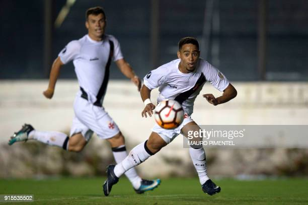 Brazil's Vasco da Gama player Yago Pikachu scores a goal against Chile's Universidad Concepcion during a Libertadores Cup football match at Sao...