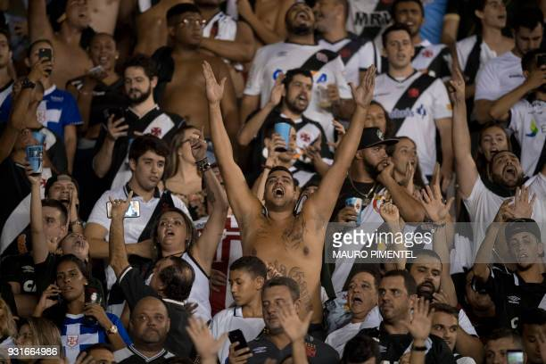 Brazil's Vasco da Gama supporters scream during their match against Chile's Universidad de Chile in the 2018 Libertadores Tournament at Sao Januario...