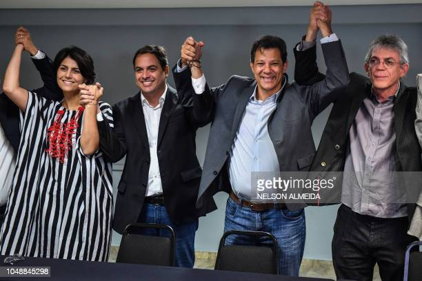 Brazil's vicepresidential candidate for the Workers' Party Manuela D'Avila governor reelect for Pernambuco state Paulo Camara Brazil's presidential...
