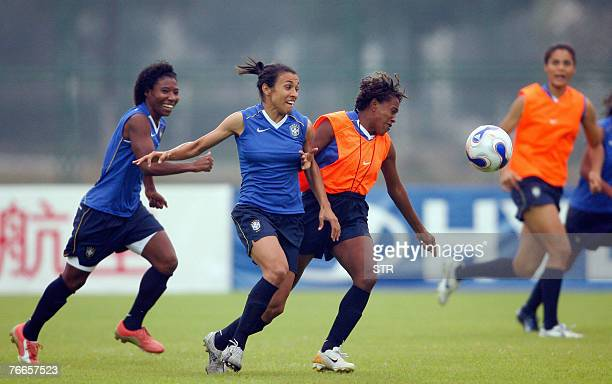 Brazil's women football player Marta Vieira Da Silva trains with her teammates for the Women's World Cup 2007 in Wuhan central China's Hubei province...