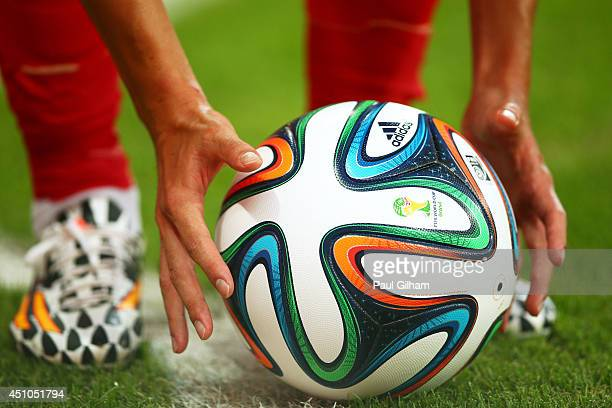 A 'Brazuca' match ball is placed during the 2014 FIFA World Cup Brazil Group H match between South Korea and Algeria at Estadio BeiraRio on June 22...