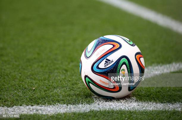 A 'Brazuca' match ball sits near the corner during the 2014 FIFA World Cup Brazil Quarter Final match between Brazil and Colombia at Castelao on July...