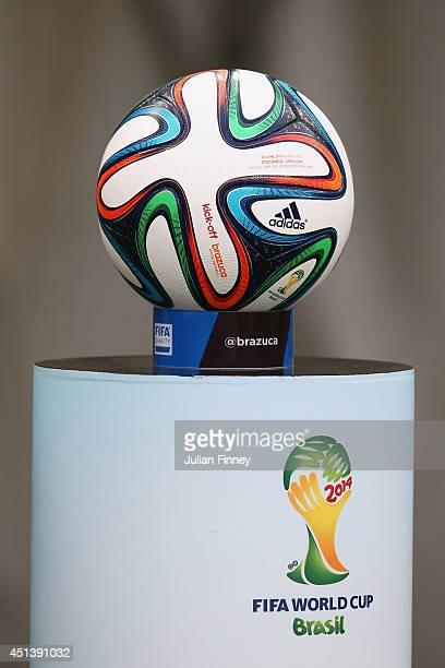 A 'Brazuca' match ball sits on a podium prior to the 2014 FIFA World Cup Brazil round of 16 match between Colombia and Uruguay at Maracana on June 28...
