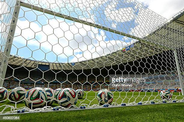 'Brazuca' match balls sit in the goal prior to the 2014 FIFA World Cup Brazil Group C match between Colombia and Greece at Estadio Mineirao on June...