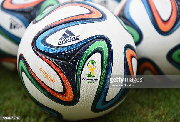'Brazuca' match balls sit on the field prior to the 2014 FIFA World Cup Brazil Group D match between Italy and Costa Rica at Arena Pernambuco on June...