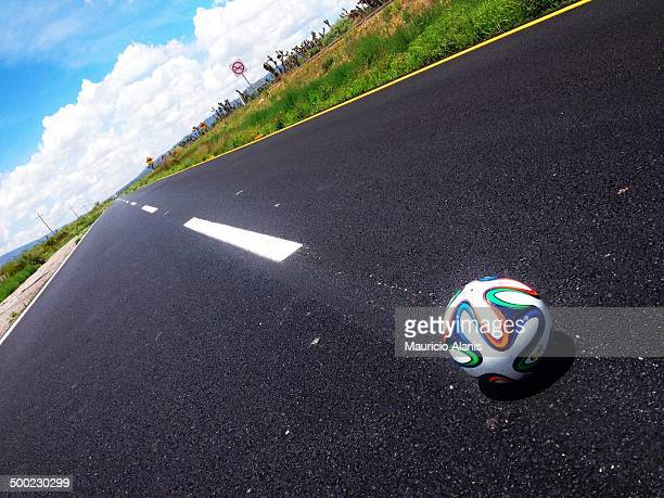 Brazuca soccer ball and road
