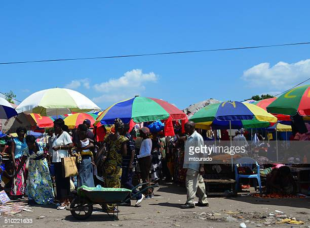 brazzaville, congo: road side market - kinshasa stock photos and pictures