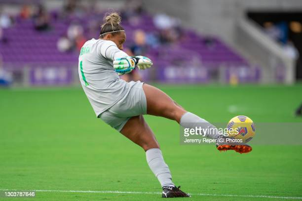 Bárbara of Brazil kicks the ball during a game between Brazil and USWNT at Exploria Stadium on February 21, 2021 in Orlando City, Florida.