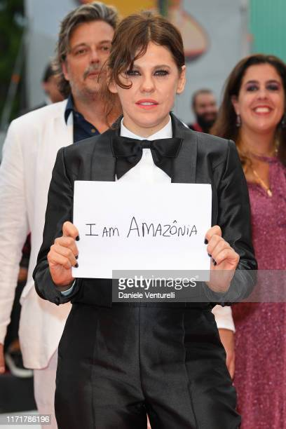 Bárbara Paz protests for Amazonia on the red carpet ahead of the Martin Eden screening during the 76th Venice Film Festival at Sala Grande on...