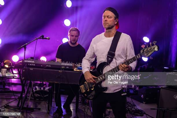Bård Kristian Kylland and Jonny Sjo from D'Sound perform on stage at a streaming concert at Sentralen during the coronavirus crisis on April 24 2020...
